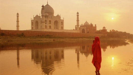 The UNESCO-listed Taj Mahal at sunrise.