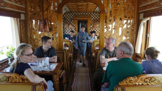 The restaurant car of the Trans-Mongolian train.