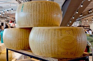 Parmesan cheeses at Eataly in Rome