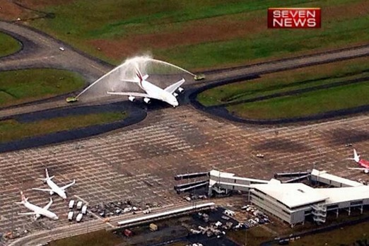 The A380 is welcomed to Brisbane. Photo:  Peter Doherty Seven News via Twitter