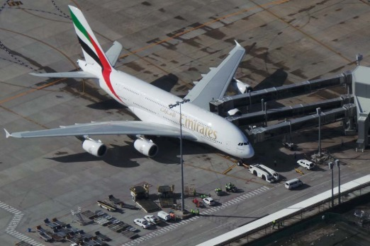 The A380 pulls up to the terminal. Photo: Penny Dahl