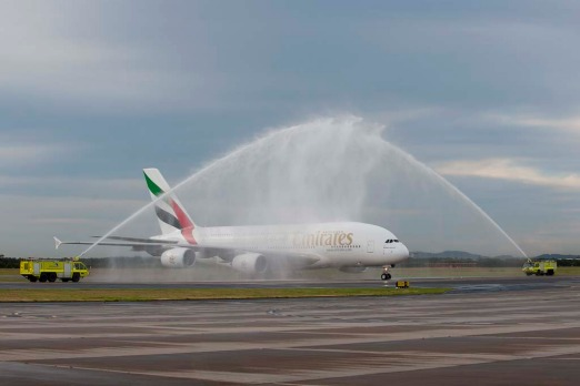The Emirates Airbus A380 is welcomed to Brisbane Airport.