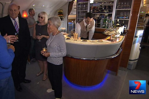 Inside the first Airbus A380 to touch down in Brisbane. Photo: Seven News