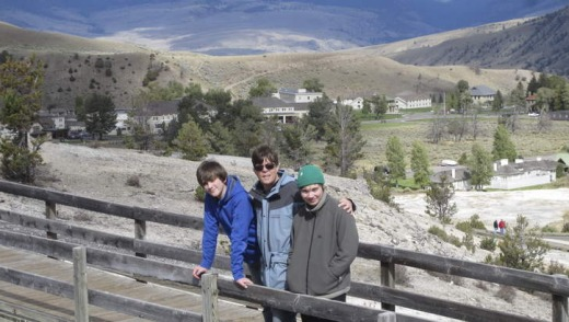 """Illegal"" family snaps: (from left) Owen Kelly, Jason Kelly and Adam Kelly of Sydney near Mammoth Hot Springs"