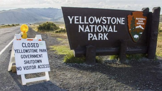 Access denied: A sign announces the closure of the Yellowstone National Park on October 2.