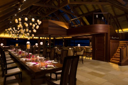 The main dining room at the Great House, Necker Island.