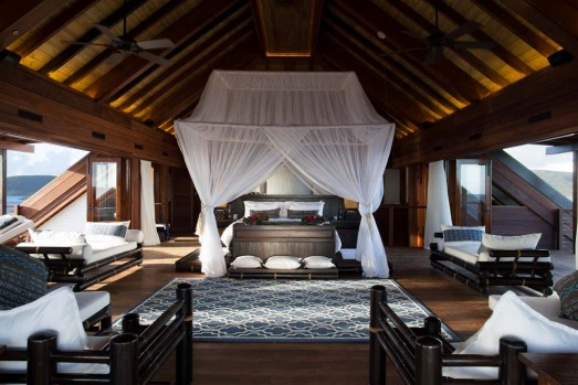 The Great House Master Bedroom. The house is available for $US60,000 ($A64,000) a night when Sir Richard is not in residence.