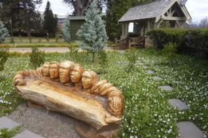 Memorial seat: the most photographed object at St John's