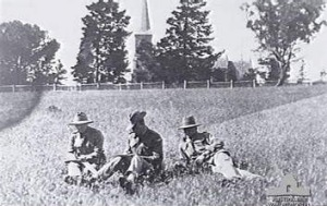 Soldiers relax in the Horse Paddock in 1916.