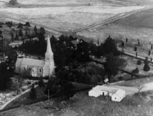St John's in 1947 showing church, school house and horse paddock.