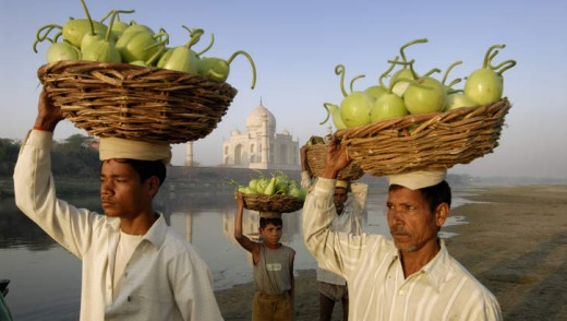 Local sights: Villagers near the  Taj Mahal.