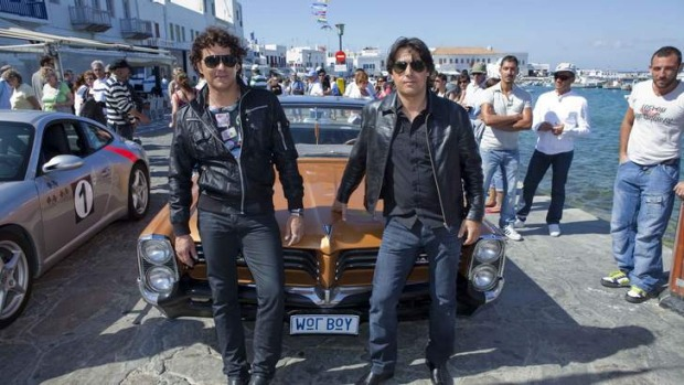 On set: Vince Colosimo and Nick Giannopoulos in  Mykonos.