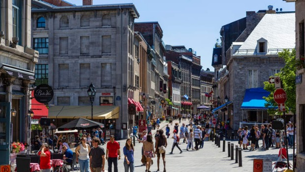Rue St Paul in Montreal, Quebec, Canada.