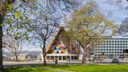 The 'Cardboard Cathedral' in Latimer Square, Christchurch, New Zealand.