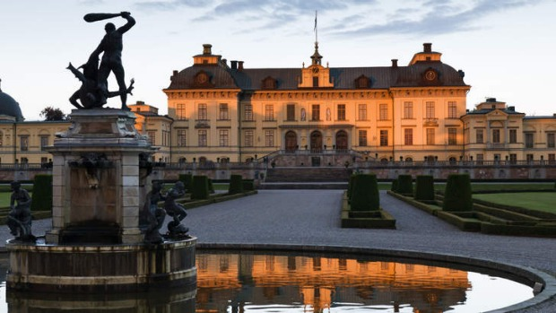 The Baroque gardens at Drottningholm Palace in Sweden.