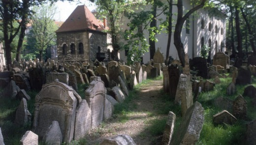 Prague's Old Jewish Cemetery in the Old Town.