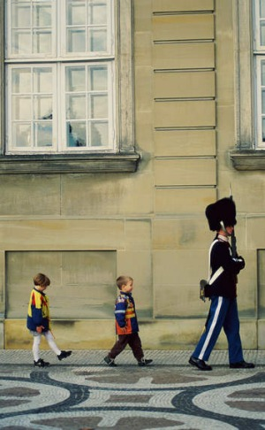Step this way: Amalienborg Square in Copenhagen, where children are encouraged to have fun.