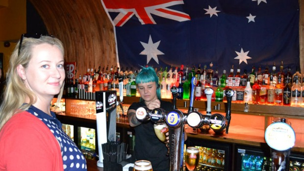 Australian blogger Rayne 'Roma' Small at the Walkabout pub.