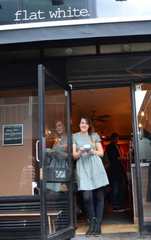 Starting to reconsider London plans: Nadine Stedman at Flat White in Soho.