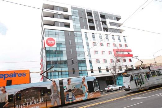 The new Tune Hotel on Swantson St, Melbourne.