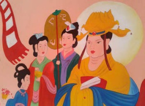 The current 'cartoonish' fresco in Yunjie Temple in Chaoyang.