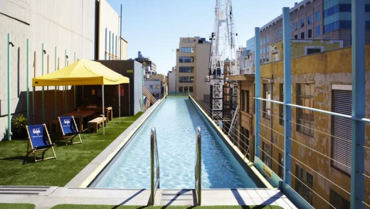 To be refurbished ... the Adelphi's iconic rooftop pool.
