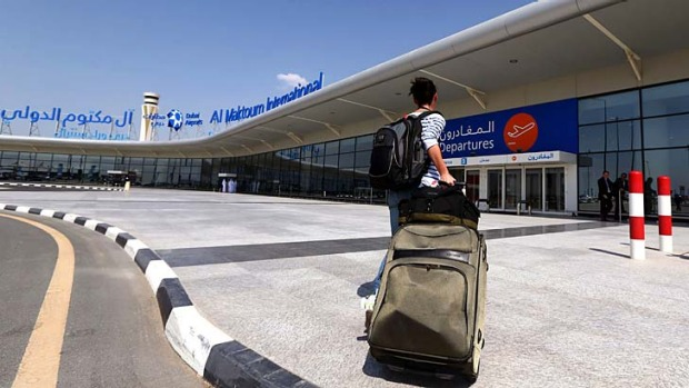 A passanger arrives at the newly opened Al-Maktoum International airport in Dubai, which will be the world's largest ...