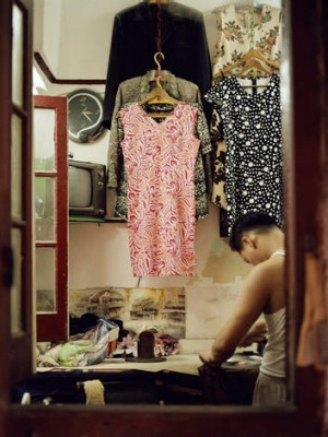 A tailor at work in Shanghai.