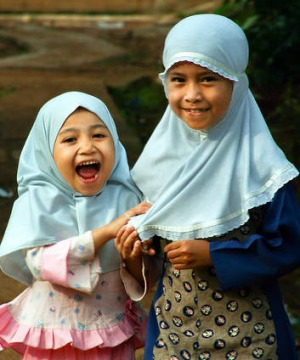 Two small Muslim girls.