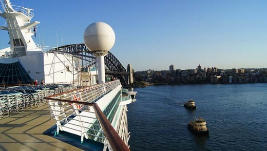 Cruise giant ... the Voyager of the Seas is back in Sydney.