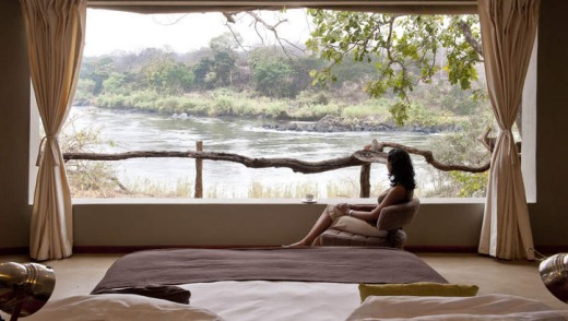 Riverbank rest: the Mkulumadzi chalet overlooking the Shire river.