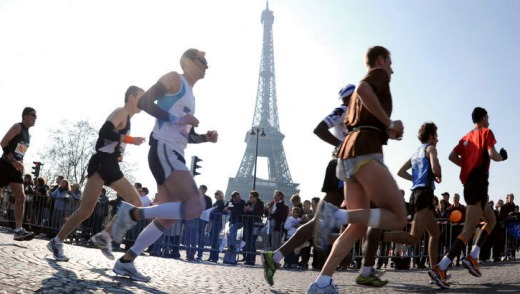 Fast track: Competitors during the Paris marathon.