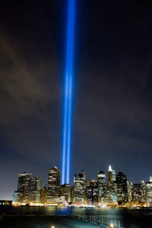 Tribute in light: Ground Zero in Lower Manhattan.
