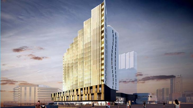 An artist's illustration of the planned new M Docklands building, which will house Peppers Docklands, a new five-star hotel.