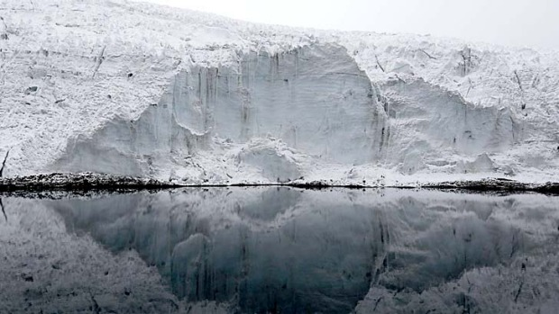 The lake formed by meltwater from the Pastoruri glacier in Peru.