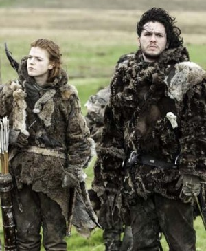 Jon Snow (Kit Harrington) and Ygritte (Rose Leslie) in Game of Thrones.