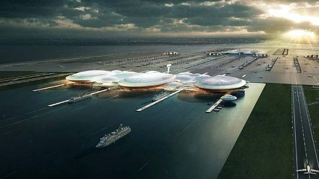 The proposed new airport would sit on a purpose-built island off the Isle of Sheppey in Kent, some 80 kilometres east of ...