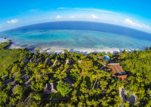 Aerial view of the Manta Resort, Pemba Island, Zanzibar.