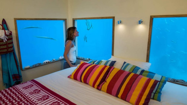Inside the underwater room, Manta Resort, Pemba Island, Zanzibar.