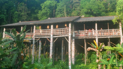 Dayak compound in Borneo.