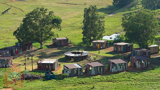 Accommodating 52 guests, the buildings are made of corrugated iron sheets, with long-drop toilets and outdoor drum fires.