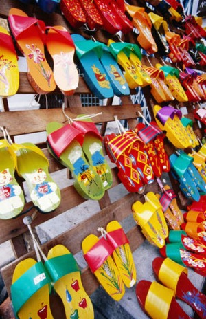 Rows of hand-painted shoes in Melaka's Chinatown.