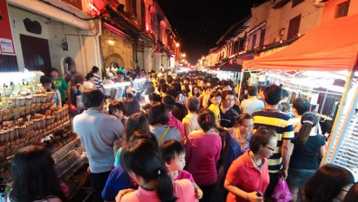 Jonker Street at the centre of Chinatown.
