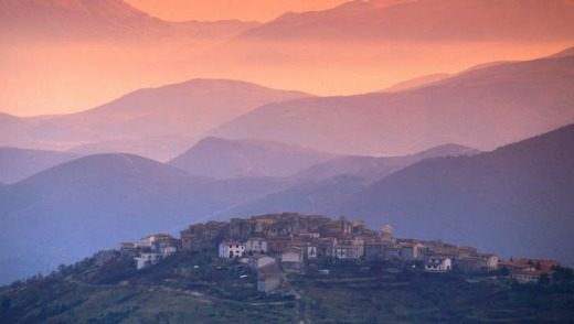 Sunset over Abruzzo mountains.