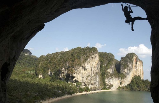 Rock-climbing in Krabi, Thailand. Scaling huge cliffs surrounded by crystal clear ocean and pristine beaches? Yes please.