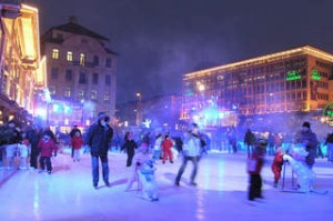 Ice skating at Stachus Karlsplatz.