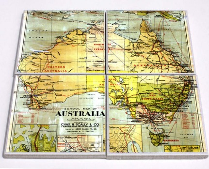 Australia map four-coaster set by Red Dog Design, $45, hardtofind.com.au.