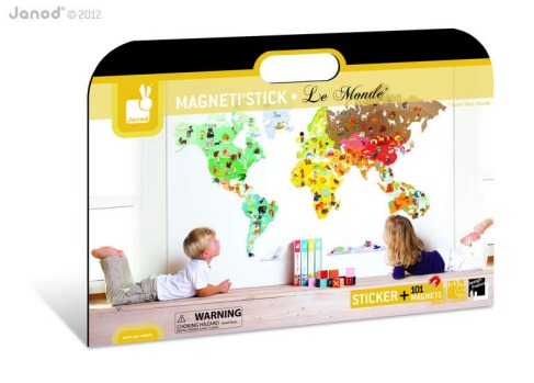 Magnetistick world magnetic wall decal by Janod, $129, entropy.com.au.