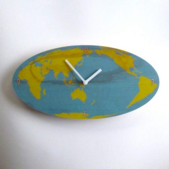 Objectify world map wall clock by Vanilla Design Ltd, $36, hardtofind.com.au.