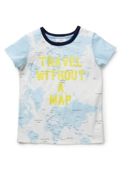 Boy's travel map T-shirt by Seed, $34.95, seedheritage.com.